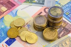 Euro Money Stacks and Bills. Banknotes background Royalty Free Stock Image