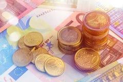 Euro Money Stacks and Bills. Macro Royalty Free Stock Photos