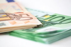 Euro Money stacks - business background stock photography