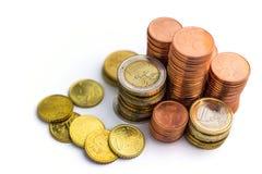 Euro Money Stacks. On white background Royalty Free Stock Photos