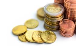 Euro Money Stacks. On white background Royalty Free Stock Photo