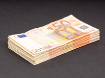 Euro money stash. Stash of 50 euro banknotes for your financial, bonus, cashback, gifts and presents copy - the money is real and used, focus is on the bottom royalty free stock image