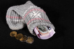 Euro money stock in a sock Stock Photography