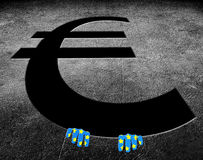 Euro money symbol with hands Royalty Free Stock Image