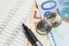 Euro money and table Stock Image