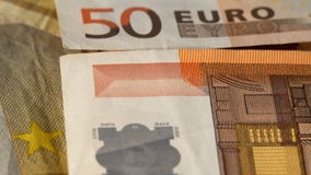 Euro Money on the table stock video footage