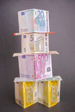 Euro money tower. Euro banknotes forming a tower for your financial, bonus, cashback, gifts and presents copy - note, that the money is real and used Stock Photos