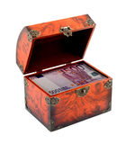 Euro money in treasure chest Royalty Free Stock Image