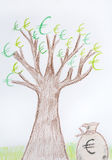 Euro money tree. Stock Photos