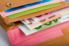 Euro money in wallet Stock Photos