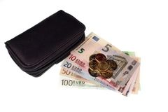 Euro money and wallet Royalty Free Stock Image