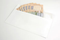 Euro money in a white envelope Royalty Free Stock Images