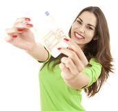 Euro money with young woman Stock Image