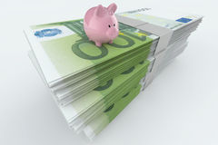 Euro Moneystack with piggy bank. On top Royalty Free Stock Image