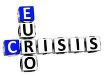 euro mots croisé de la crise 3D Image stock