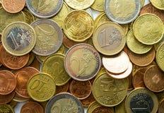 Euro mucchio della moneta Fotografie Stock Libere da Diritti
