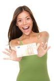 Euro- mulher do dinheiro Fotografia de Stock Royalty Free