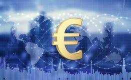 Euro munt als globaal middel van betaling 3D Illustratie royalty-vrije stock foto