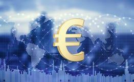 Euro munt als globaal middel van betaling 3D Illustratie stock foto