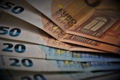 Euro munt Bankbiljetten van de Europese Unie royalty-vrije stock foto's