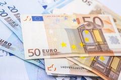 Euro munt/geldachtergrond/euro uitwisseling Royalty-vrije Stock Afbeeldingen