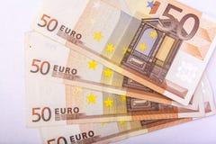Euro munt/geldachtergrond/euro uitwisseling Stock Foto's
