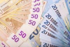 Euro munt/geldachtergrond/euro uitwisseling Stock Foto
