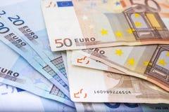Euro munt/geldachtergrond/euro uitwisseling Stock Fotografie