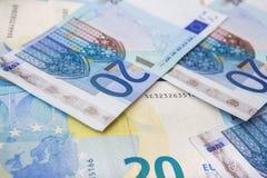 Euro munt/geldachtergrond/euro uitwisseling Royalty-vrije Stock Foto