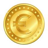Euro munt gouden muntstuk met sterren Vector illustratie die op witte achtergrond wordt geïsoleerdd Editableelementen en glans Ca Royalty-vrije Stock Afbeeldingen