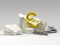 Euro munt in ijs royalty-vrije stock fotografie