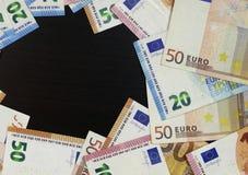 Euro munt van geld de euro bankbiljetten royalty-vrije stock afbeeldingen