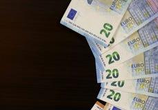 Euro munt van geld de euro bankbiljetten royalty-vrije stock foto