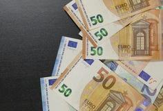 Euro munt van geld de euro bankbiljetten stock foto's