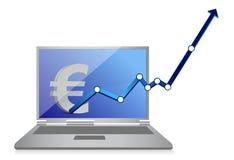 Euro muntgrafiek en laptop Stock Foto