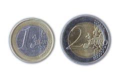 Euro Muntstuk één en Twee Stock Foto's