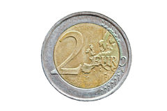 euro muntstuk 2 dat op witte achtergrond wordt geïsoleerdg Royalty-vrije Stock Afbeelding