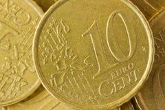 Euro muntstuk Stock Foto's