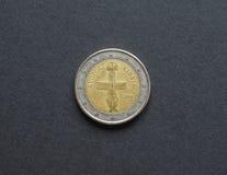 2 euro muntstuk Royalty-vrije Stock Fotografie