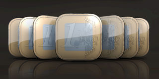 Euro muntstuk apps in stroom Royalty-vrije Stock Afbeelding