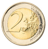 Euro muntstuk dat op wit wordt geïsoleerdh stock fotografie