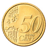 Euro muntstuk dat op wit wordt geïsoleerdl stock fotografie