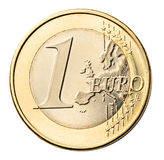 Euro muntstuk dat op wit wordt geïsoleerdr Stock Foto