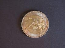 2 euro muntstuk, Europese Unie Stock Afbeeldingen
