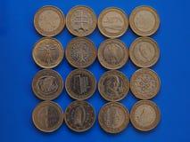 1 euro muntstuk, Europese Unie Stock Afbeelding