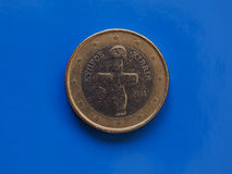 1 euro muntstuk, Europese Unie, Cyprus over blauw Royalty-vrije Stock Foto's