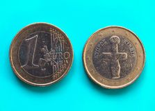 1 euro muntstuk, Europese Unie, Cyprus over groenachtig blauw Stock Afbeelding