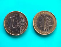 1 euro muntstuk, Europese Unie, Nederland over groenachtig blauw Royalty-vrije Stock Afbeelding