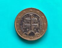 1 euro muntstuk, Europese Unie, Slowakije over groenachtig blauw Royalty-vrije Stock Fotografie