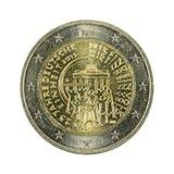 2 euro muntstuk 2015 25 jaar Duitse hereniging geïsoleerde stock afbeelding